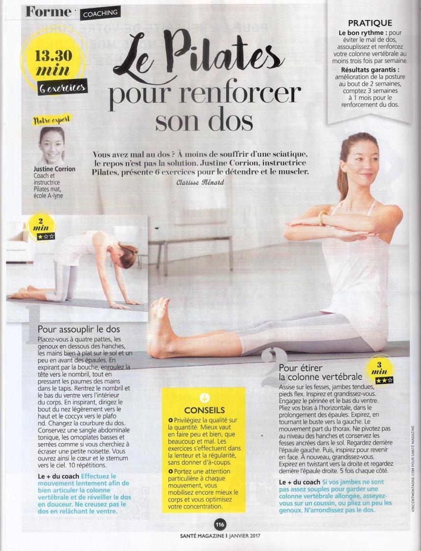 LE PILATES POUR RENFORCER LE DOS SANTÉ MAG JANVIER 2017 _Page_1